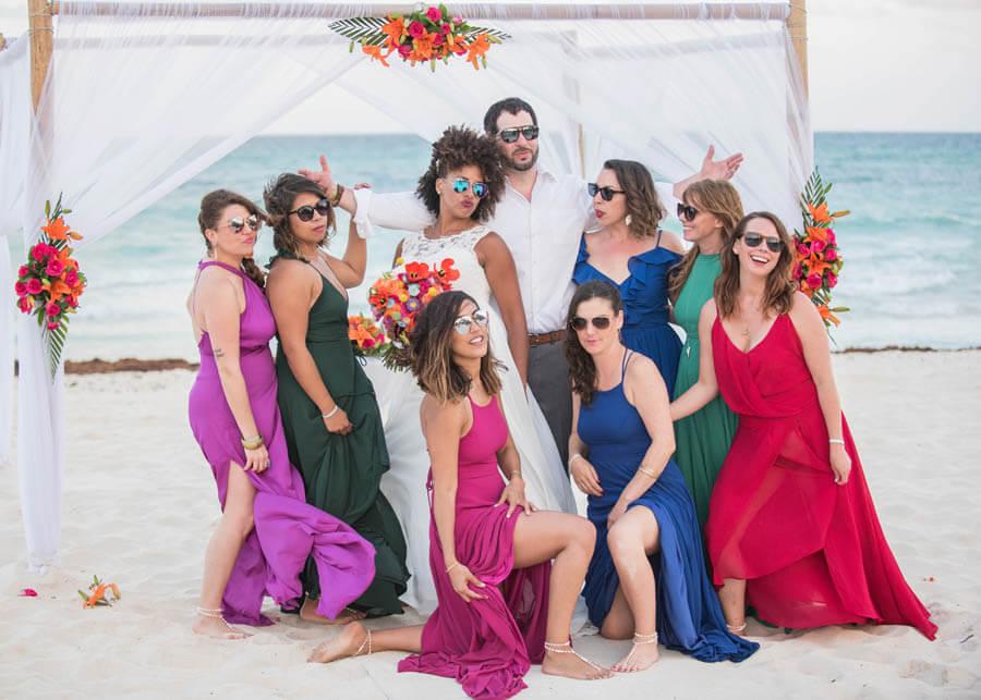 colorful bridesmaids dresses destination wedding mexico Tamara J Events